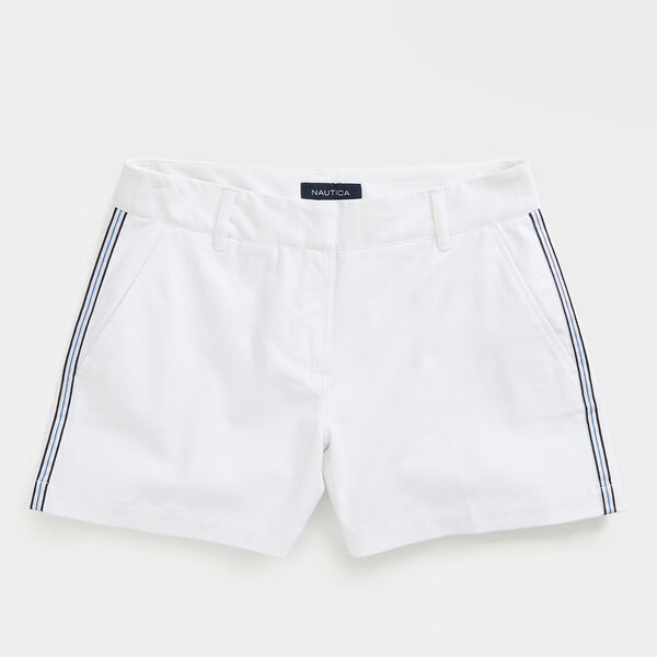 "4 1/2"" SIDE STRIPE CHINO SHORTS - Bright White"