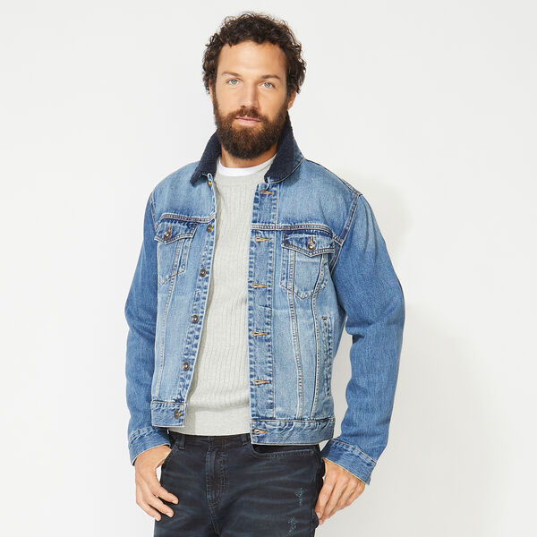 NAUTICA JEANS CO. SHERPA COLLAR DENIM JACKET - Varsity Blue Wash