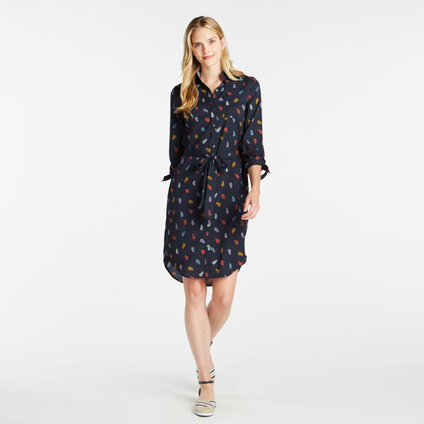 THREE-QUARTER SLEEVE LEAF PRINT BUTTON UP DRESS - Stellar Blue Heather
