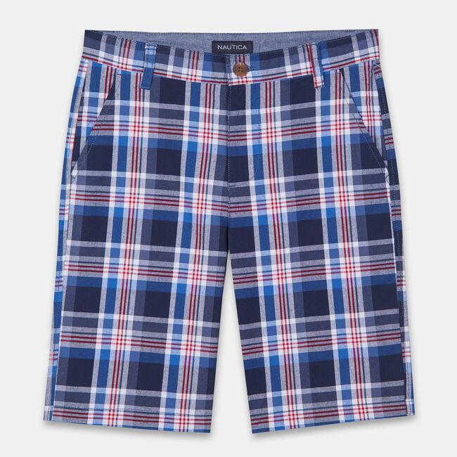 BOYS' TURNER PLAID SHORTS (8-20),Bright Cobalt,large