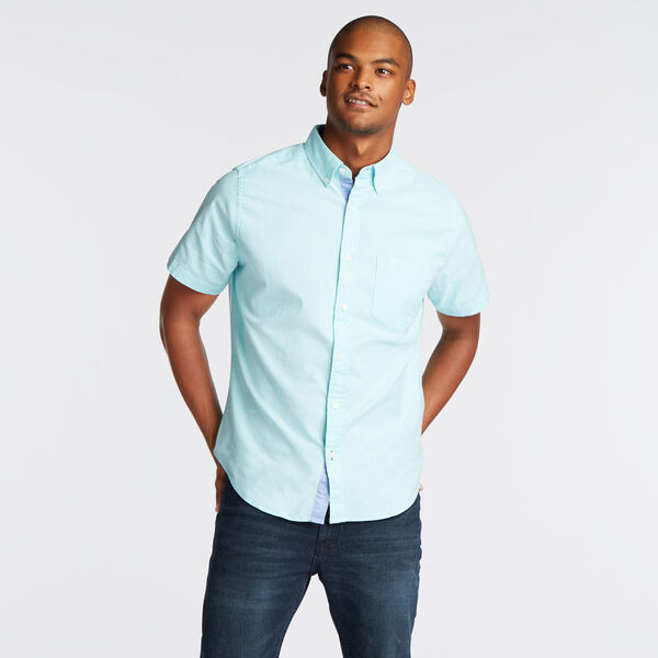 CLASSIC FIT STRETCH SHORT SLEEVE OXFORD SHIRT - Compass Blue