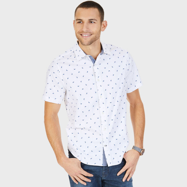 Shark Motif Twill Slim Fit Short Sleeve Shirt,Bright White,large