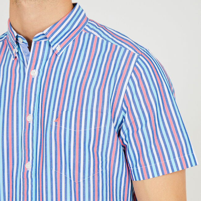 Classic Fit Striped Button Down,Desert Rose,large
