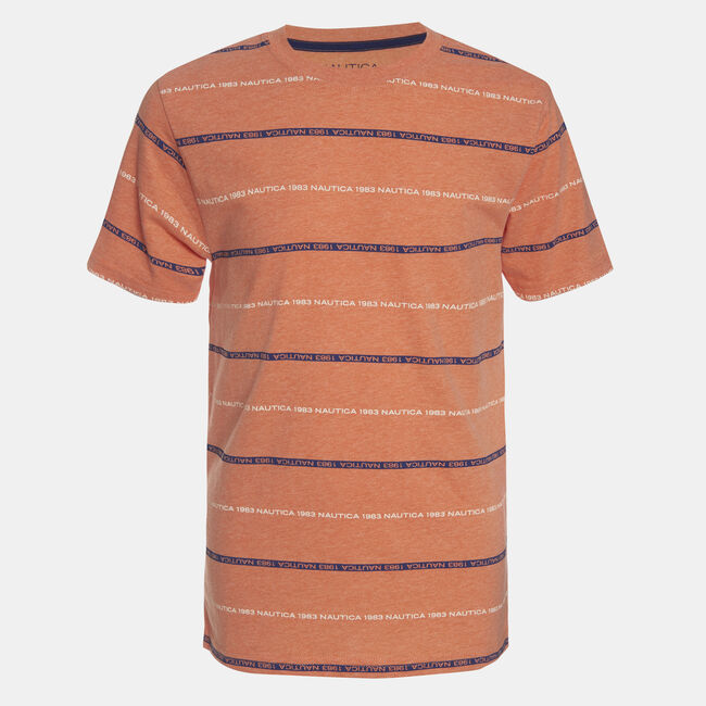 BOYS' SCOTT STRIPE LOGO PRINTED TEE (8-20),Navigator Orange,large