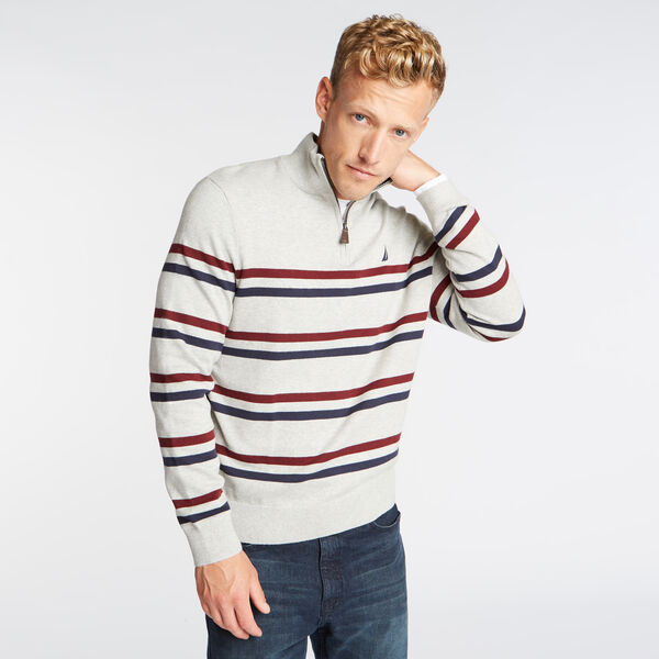QUARTER ZIP BRETTON STRIPED SWEATER - Grey Heather