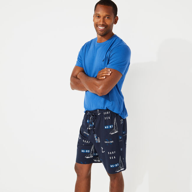 SLIM FIT SHORT SLEEVE AND KNIT SHORT PAJAMA SET,Windsurf Blue,large