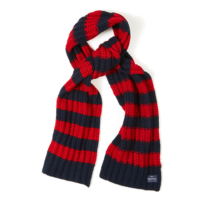 Striped Ribbed Scarf,Navy,large