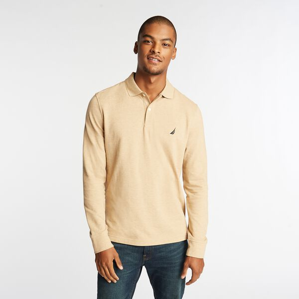 CLASSIC FIT J-CLASS LONG SLEEVE POLO - Camel Heather
