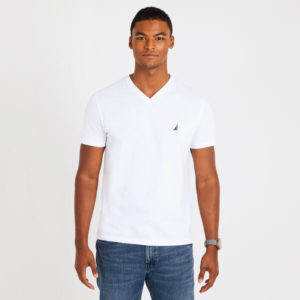 V-Neck Short Sleeve Slim Fit T-Shirt - Bright White