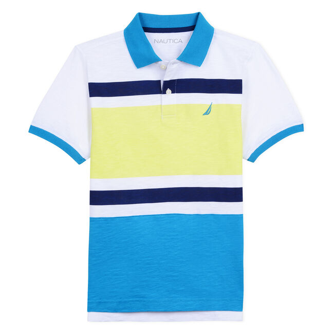BOYS' LYLE POLO IN COLORBLOCK,Star Turquoise,large