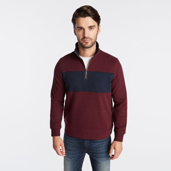 QUARTER-ZIP COLORBLOCK FLEECE PULLOVER - Royal Burgundy