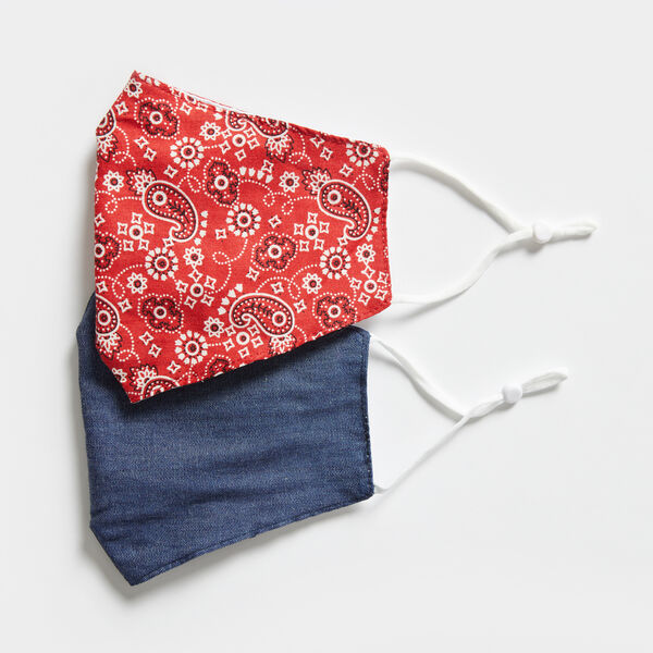 BANDANA PRINT AND DENIM REUSABLE FACE MASK, 2 PACK - Nautica Red
