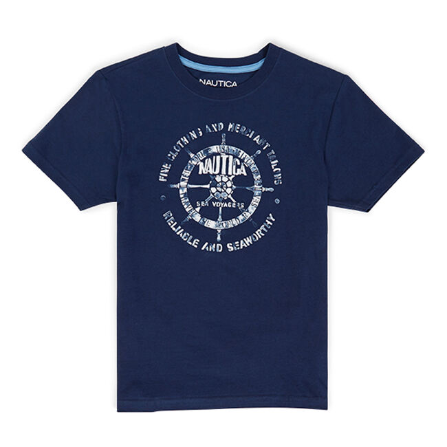Toddler Boys' Hatton Shipswheel Graphic Tee (2T-4T),Oyster Bay Blue,large