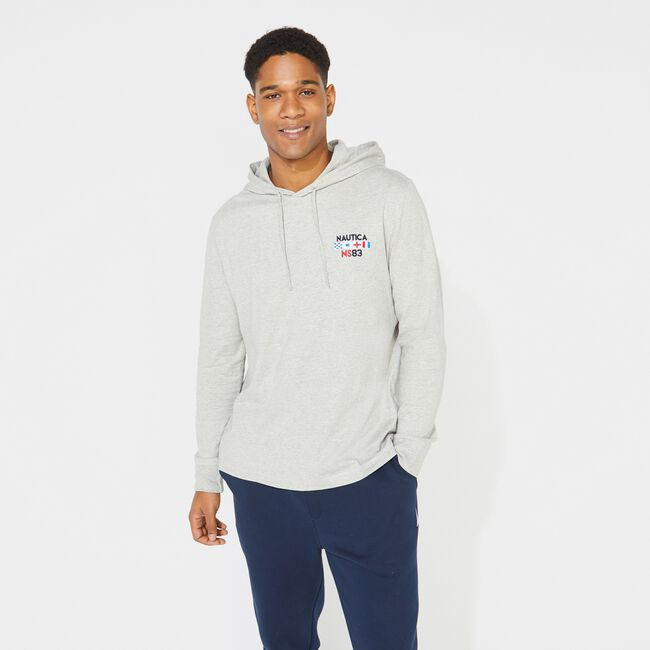 GRAPHIC LONG-SLEEVE T-SHIRT HOODIE,Grey Heather,large