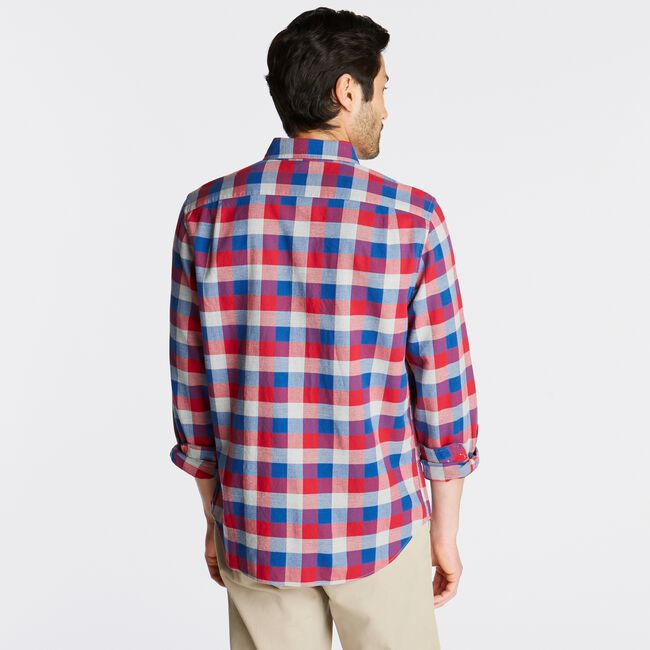 PLAID FLANNEL SHIRT,Nautica Red,large