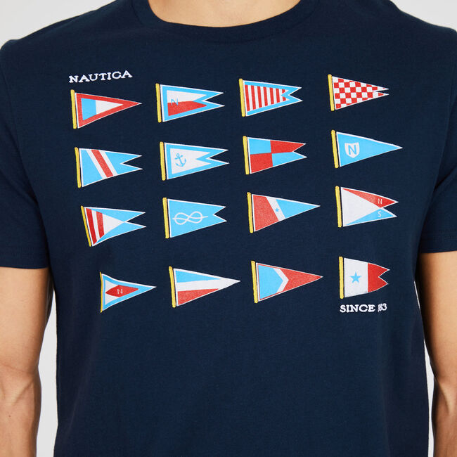 Big & Tall Heritage Sail Flags Crewneck T-Shirt,Navy,large