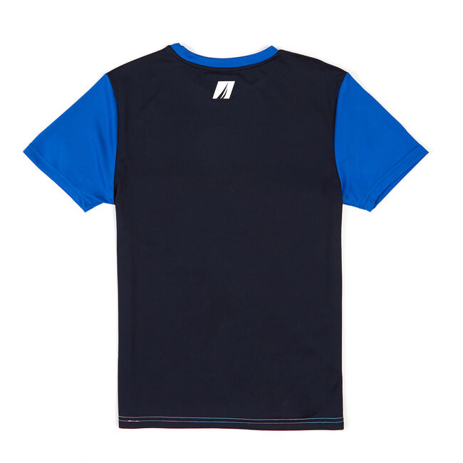 Toddler Boys' Wicking Colorblock Short Sleeve Tee (2T-4T),Clear Skies Blue,large