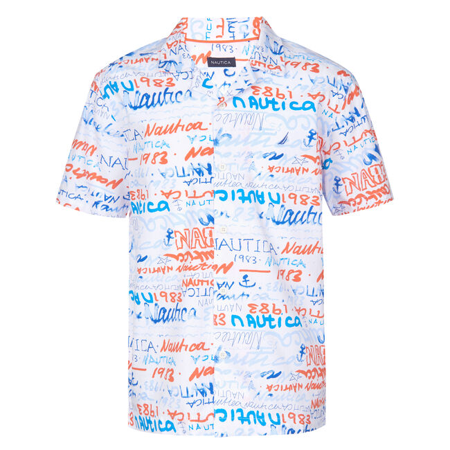LITTLE BOYS' MARCELO ALL OVER PRINTED SHORT SLEEVE WOVEN SHIRT (4 - 7),Livng Coral,large
