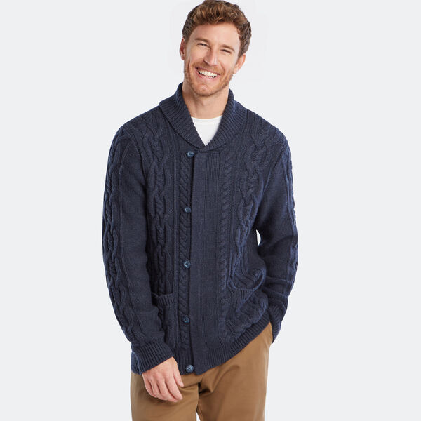 CABLE-KNIT FULL-ZIP SWEATER - Nite Sea Heather