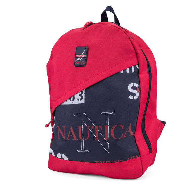 Nautica Diagonal Zip Graphic Backpack - Red & Navy,Nautica Red,large