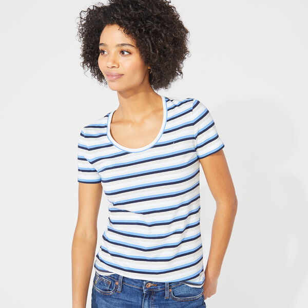 STRIPED SCOOP NECK TEE - Haze Grey Heather