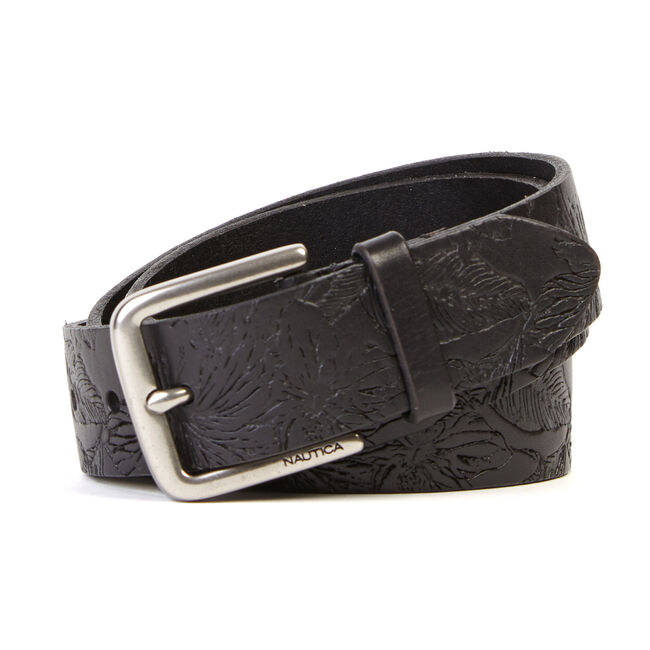 Floral Embossed Belt,Black,large