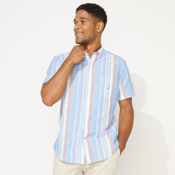 CLASSIC FIT LINEN STRIPE SHIRT - Clear Sky Blue