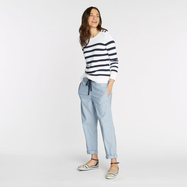 GROVE CLASSIC FIT STRETCH PANTS IN STRIPE  - Union Blue