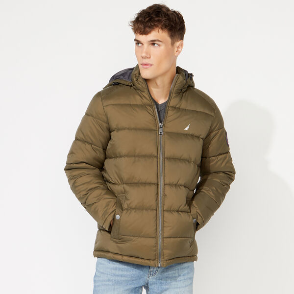 PUFFER JACKET WITH REMOVABLE HOOD - Cargo Green
