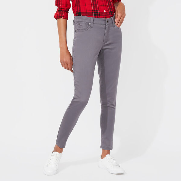 FIVE-POCKET SATEEN ANKLE PANTS - Grey Shadow