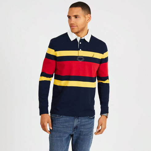 Rugby Stripe Classic Fit Long Sleeve Shipman Polo - Navy