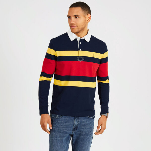 Long Sleeve Classic Fit Rugby Stripe Polo - Navy