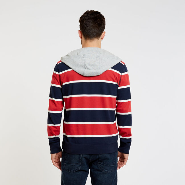 Rugby Stripe Pullover Hoodie,Rescue Red,large