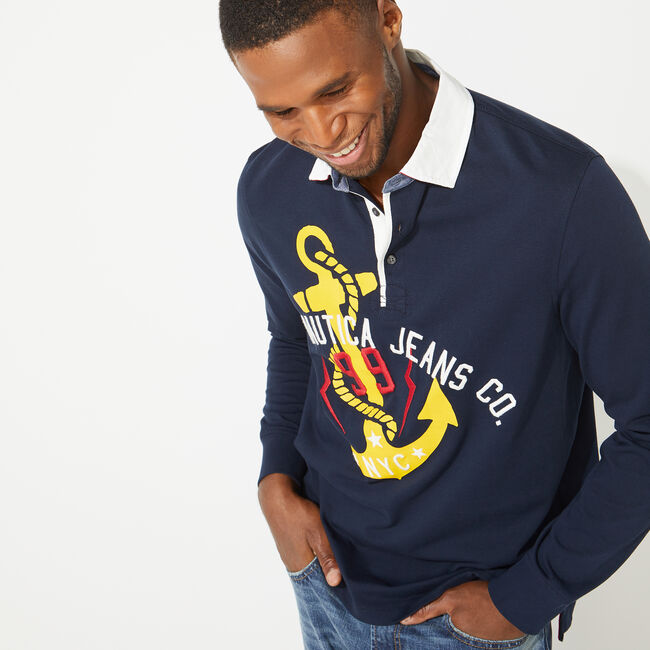 NAUTICA JEANS CO. ANCHOR GRAPHIC LONG SLEEVE RUGBY,Navy,large