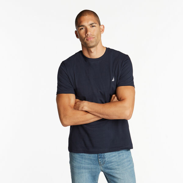 SOLID SHORT SLEEVE CREWNECK T-SHIRT - Navy