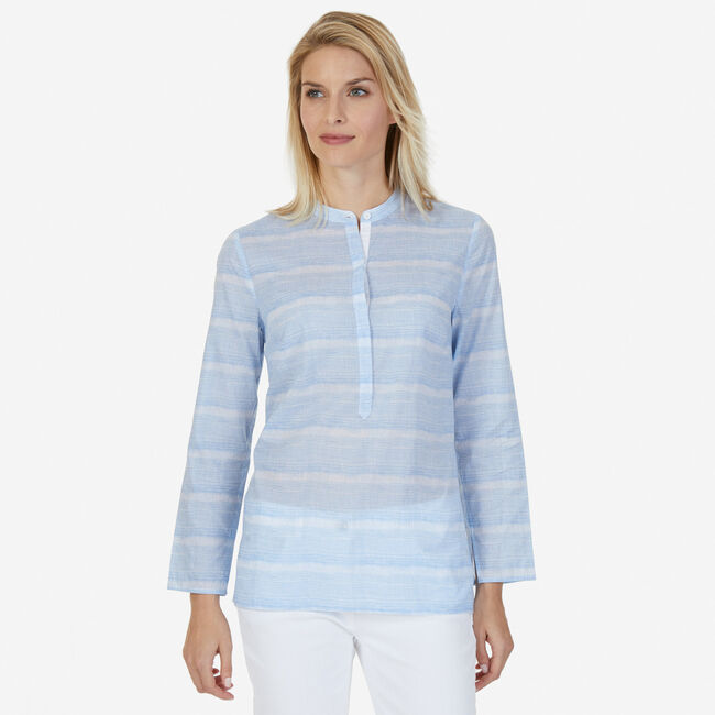 Striped Long Sleeve Popover Top,Blue Grass,large