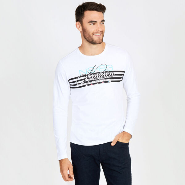 Signature Stripes Crewneck Tee - Bright White