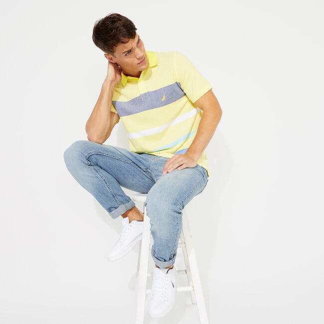 CLASSIC FIT SOLID OXFORD POLO,Blazing Yellow,large