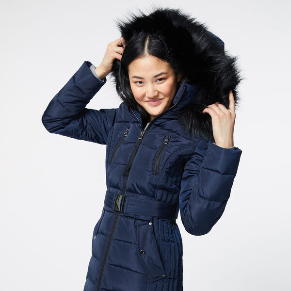 FAUX FUR TRIM HOODED BELTED PUFFER COAT - Stellar Blue Heather