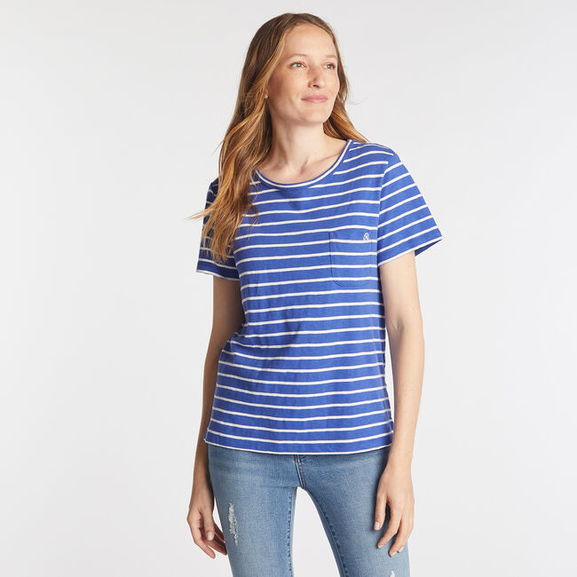 NAUTICA JEANS CO. STRIPE CREW NECK TEE,Classic Blue,large
