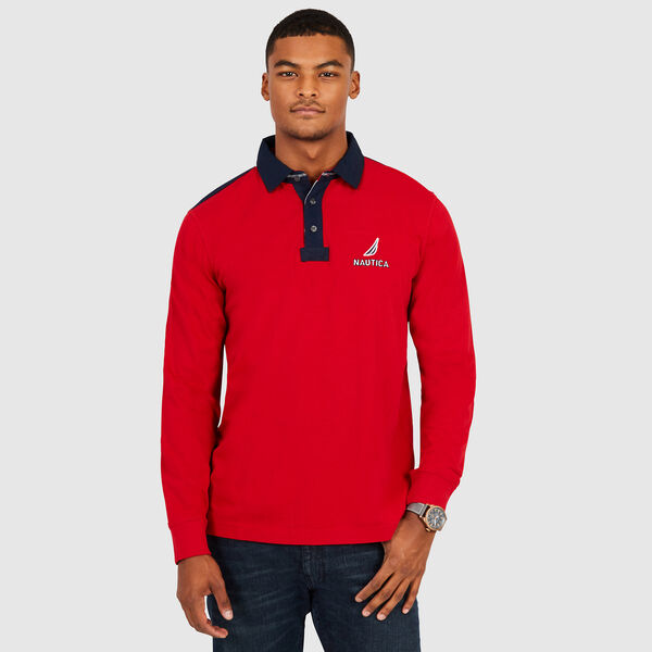 Chest Logo Classic Fit Long Sleeve Polo - Nautica Red