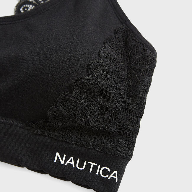 EMBROIDERED LACE BRA, 2-PACK,True Black,large