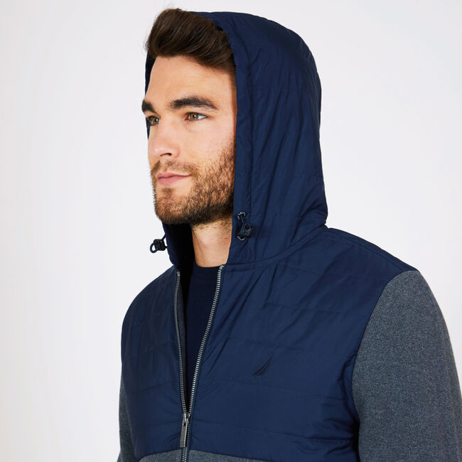 Mixed Media Full-Zip Hoodie,Charcoal Hthr,large