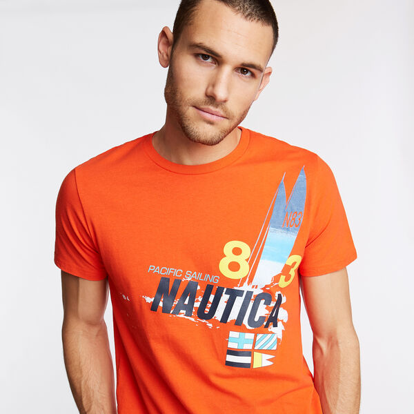 Classic Fit Crewneck T-Shirt in Pacific Sailing Graphic - Spicy Orange