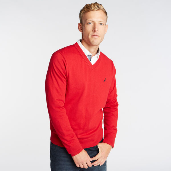 V-NECK NAVTECH SWEATER - Nautica Red