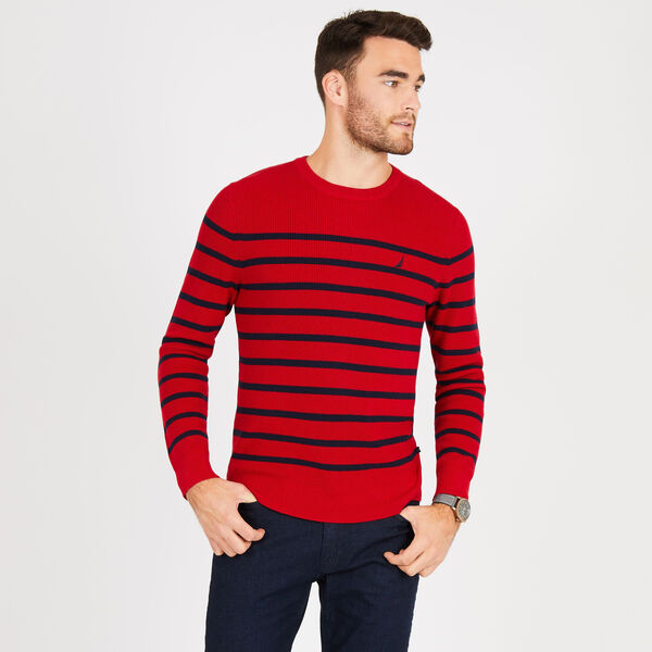 Navtech Breton Stripe Crewneck Sweater - Nautica Red