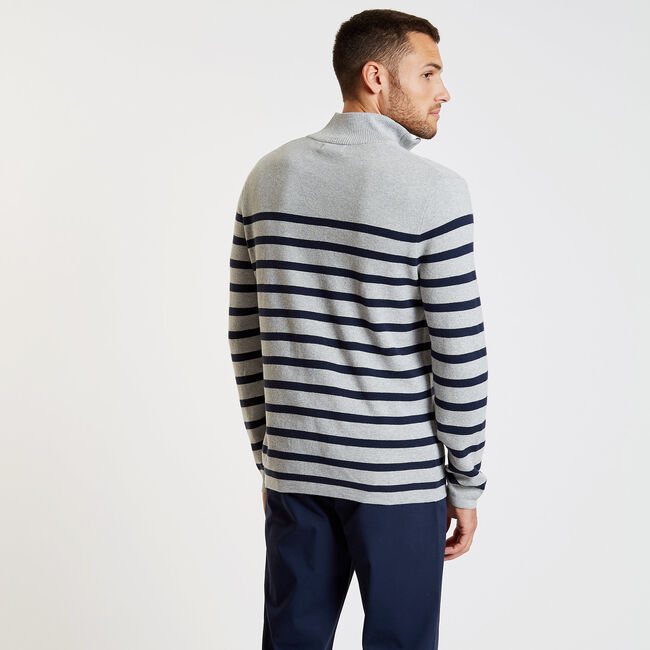 Breton Stripe Quarter-Zip Sweater,Grey Heather,large