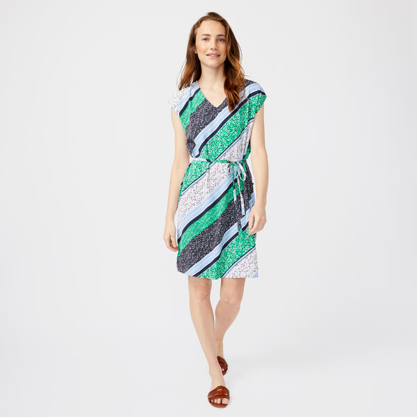 MULTI PRINT STRIPE BIAS DRESS - Bright White