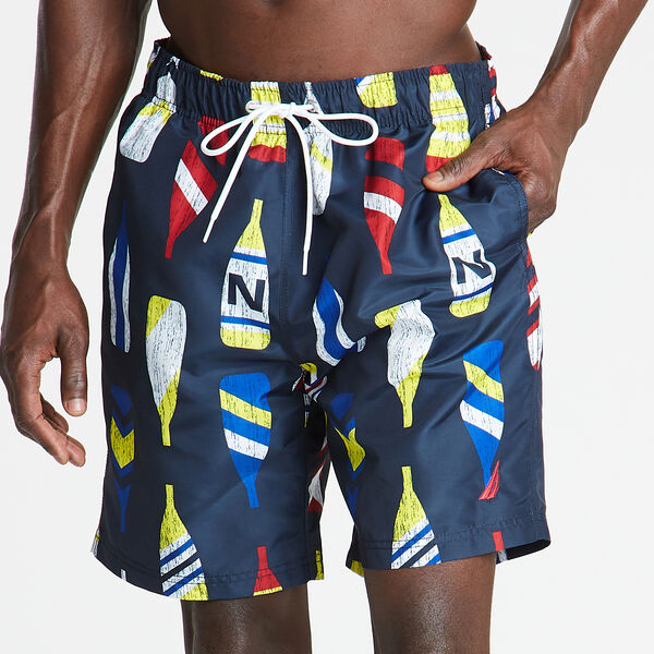 "8"" SWIM TRUNK IN OAR PRINT - Navy"