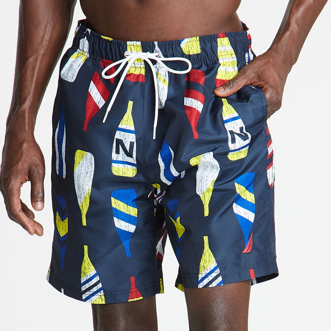 "8"" SWIM TRUNK IN OAR PRINT,Navy,large"